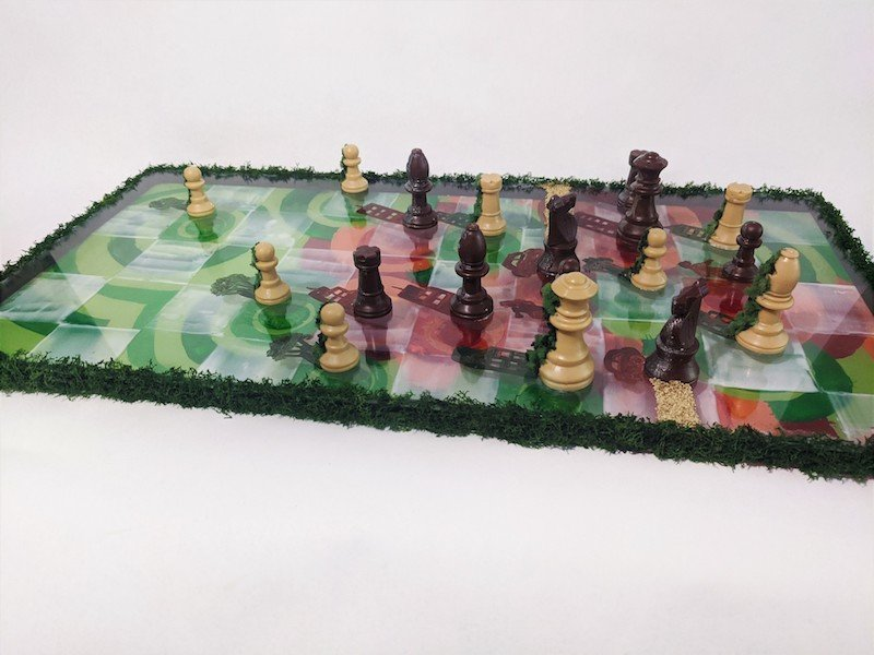 Mixed Media chessboard with pieces art by BARD