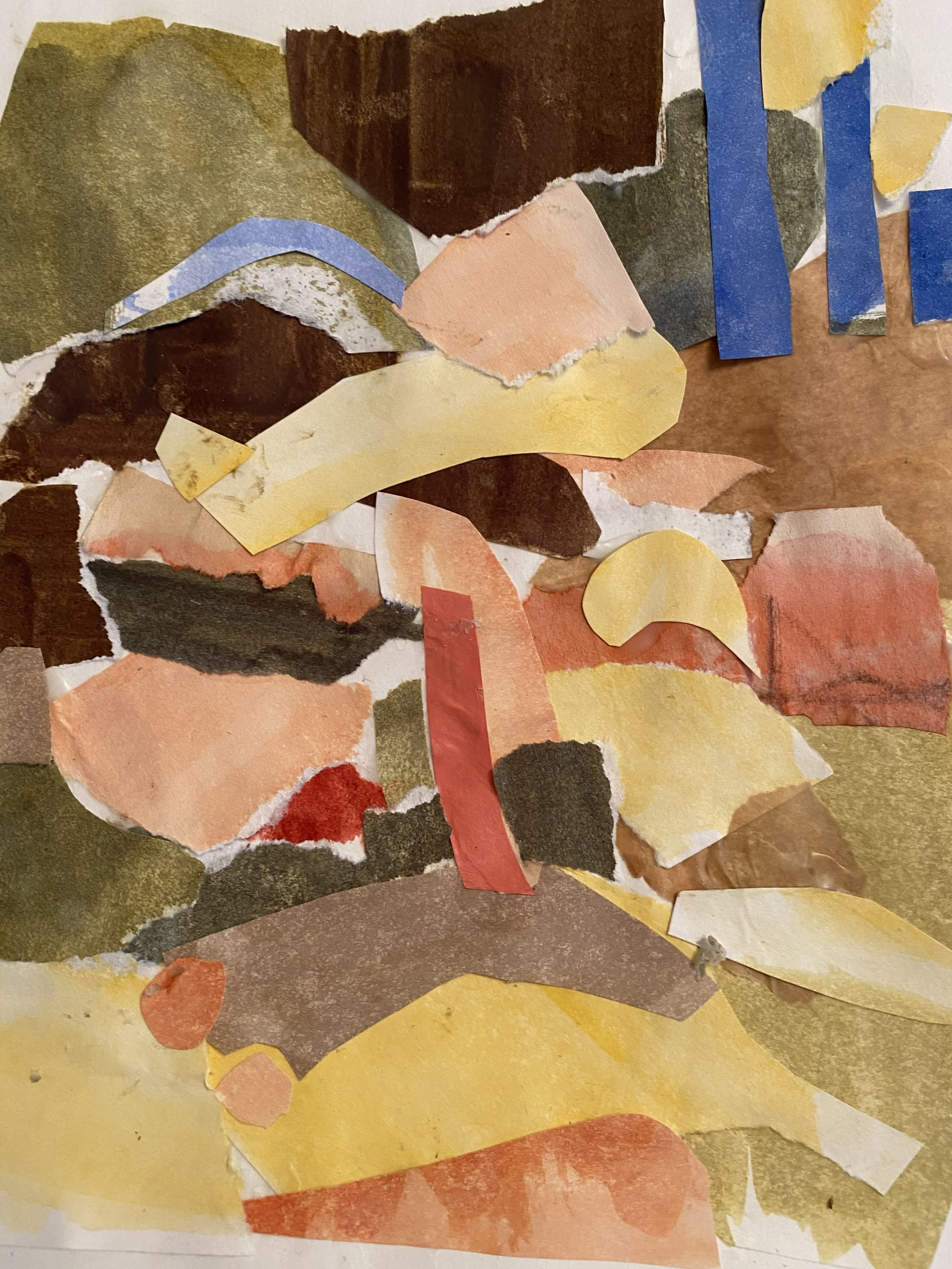 Collage in golden hues by Betty Canick at Waltham Open Studios