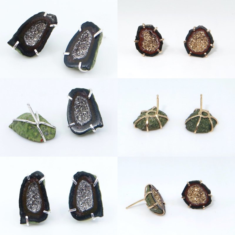 Wendy Jo New, Geodes Earrings with Platinum and 18k Gold Crystals , at Waltham Open Studios 2020