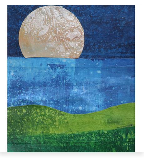Miranda Loud moon over water collage