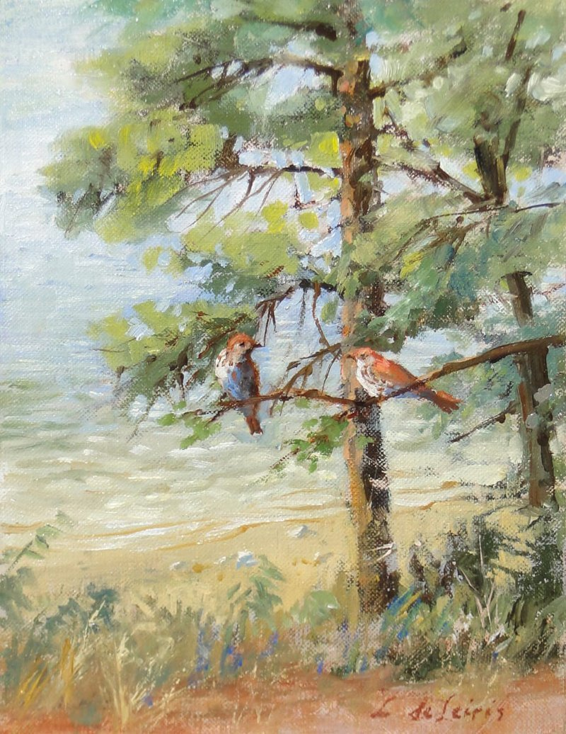 Lucia deLeiris, Wood Thrushes at Walden Pond, at Waltham Open Studios 2020