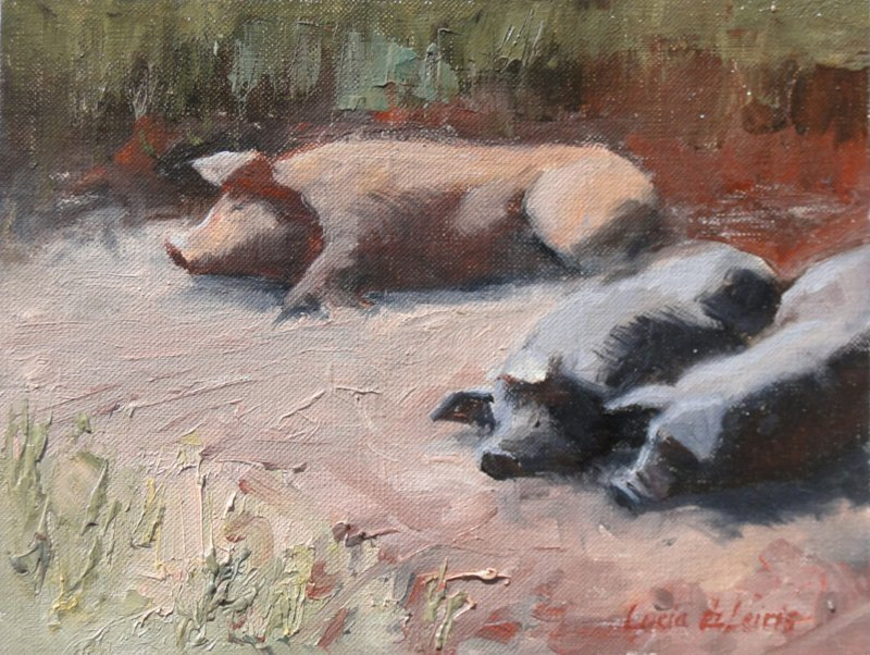 Lucia deLeiris, Three Pigs, at Waltham Open Studios 2020