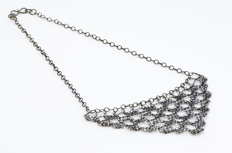 Sharon Stafford Metals, Filet Crochet Necklace, at Waltham Open Studios 2020