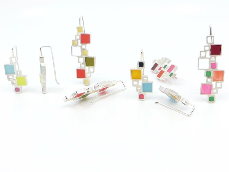 Wendy Jo New, Open Squares Resin Inlay Earrings, at Waltham Open Studios 2020