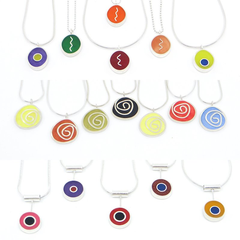 Wendy Jo New, Sterling and Resin Inlay Necklace Series Collections, Waltham Open Studios 2020