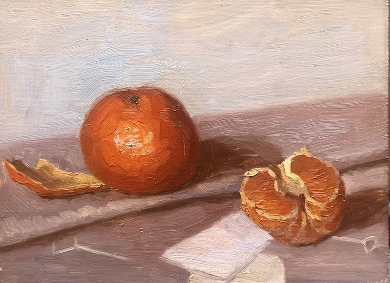 Oil painting of tangerine by Nadine Geller at Waltham Open Studios