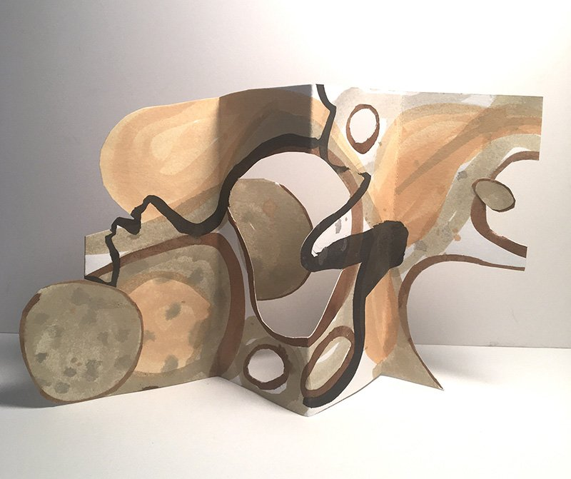 """Twins Separated at Birth A - Sculpture - paper, ink, 2020, 7"""" x 9"""" (variable)"""