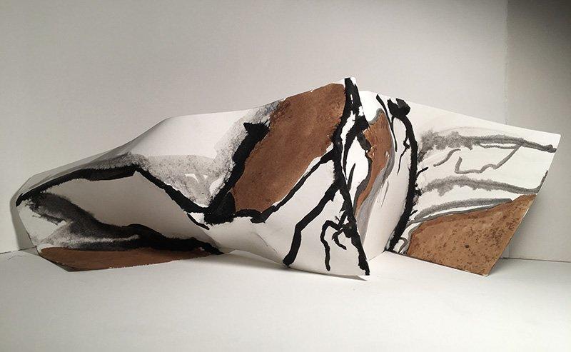 "Wall 2 - Sculpture - paper, ink, 2020, 6"" x 14"""