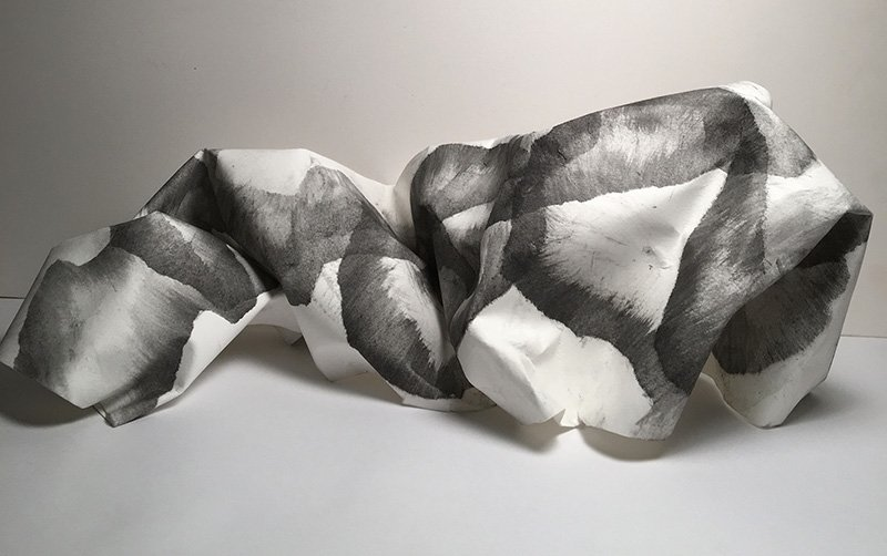 """Wall 3 - Sculpture - paper, charcoal, graphite, 2020, 7"""" x 15"""""""