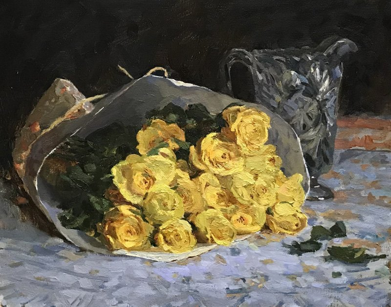 Kelly Carmody, Yellow Roses, at the Waltham Mills 2020