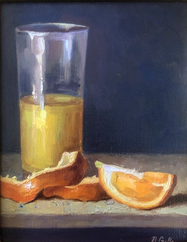 Orange and OJ painting by Nadine Geller at Waltham Open Studios