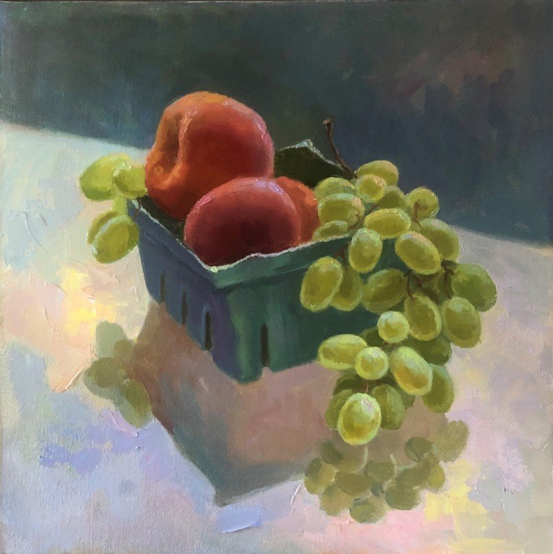 Nadine Geller painting of peaches and grapes at Open Studios