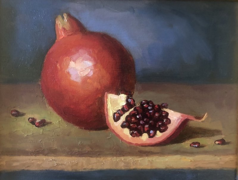 Pomegranite oil painting by Nadine Geller at Waltham Open Studios