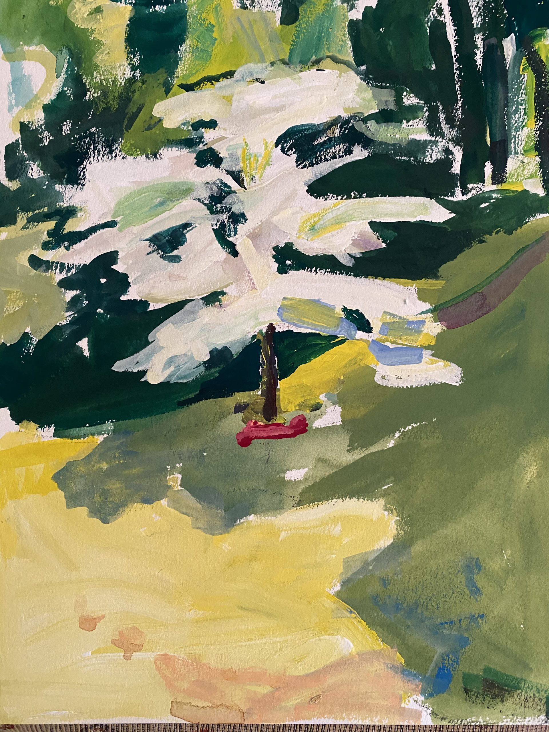 Betty Canick paints a favorite tree in Arboretum - Waltham Open Studios