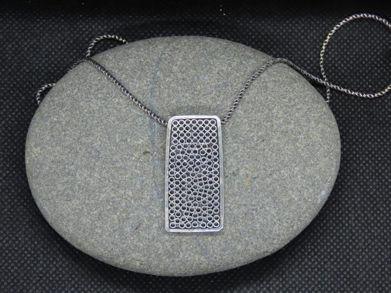 Jerry Schultz, Log-cut rectangle silver necklace at Waltham Open Studios