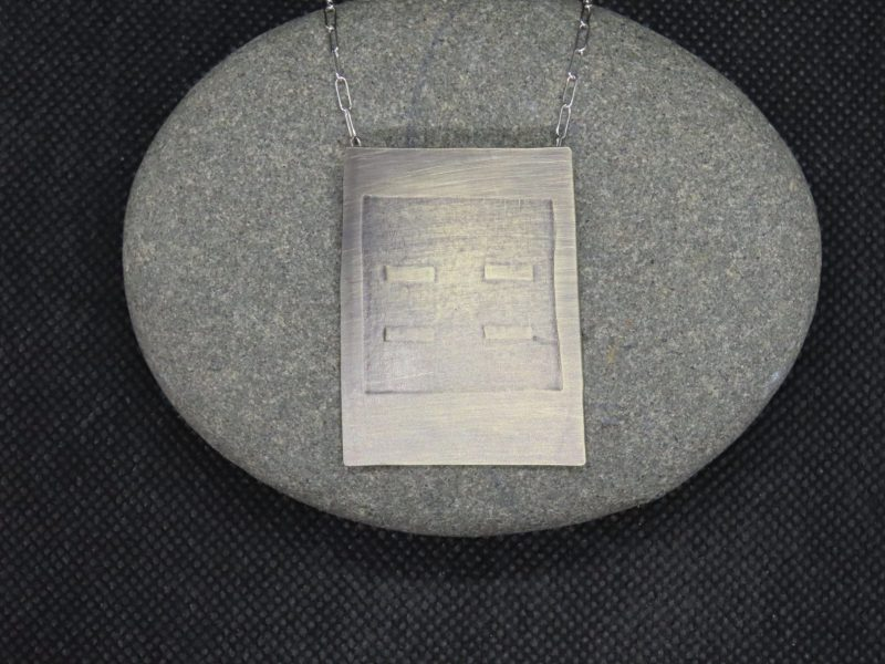 "Jerry Schultz, Sterling Silver Necklace with embossed rectangles 10"" chain at Waltham Open Studios"