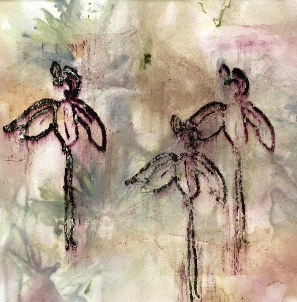 Michele Vitti ecoprint of flowers at Waltham Open Studios