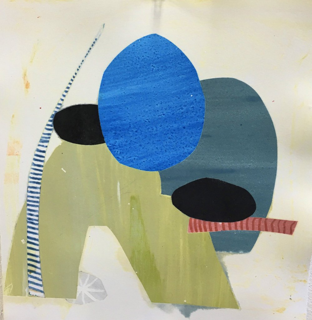 Michele Vitti, mixed media artist collage at Waltham Open Studios