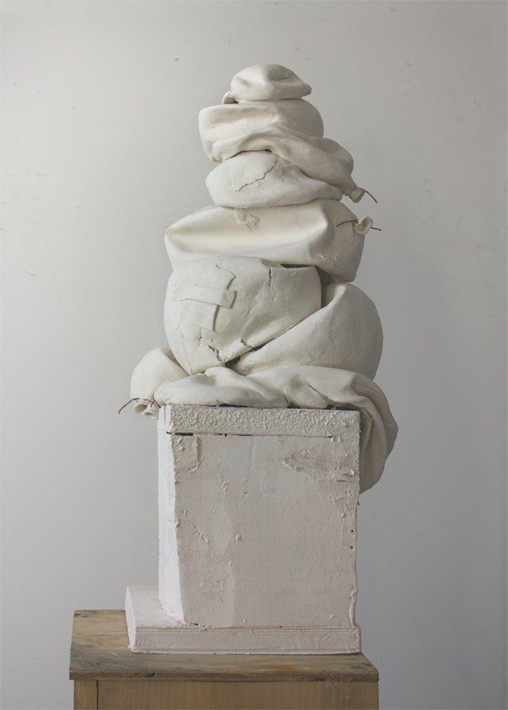 Kathleen Volp, Deflated Balloons clay sculpture at Waltham Open Studios
