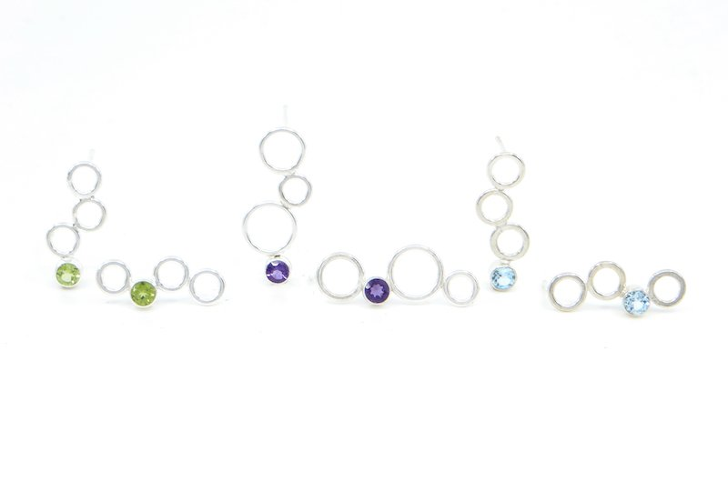 Wendy Jo New, Bubbles and Gemstone Earrings, at Waltham Open Studios 2021