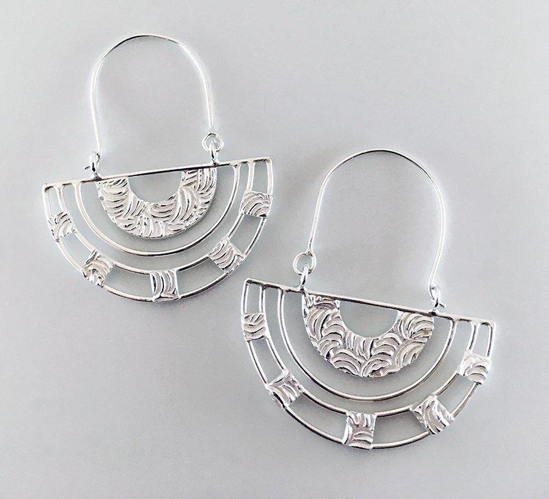 C.B. Miller Metals, Silver Half Circle Earrings, at Waltham Open Studios 2021