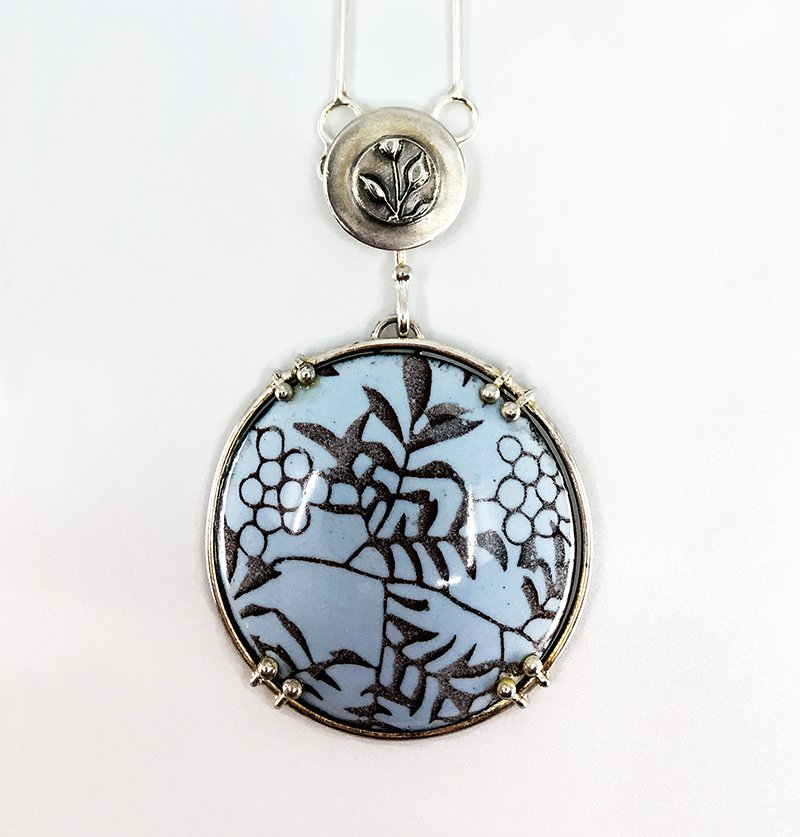 C.B. Miller Metals, Blue enamel pendant, at Waltham Open Studios 2021