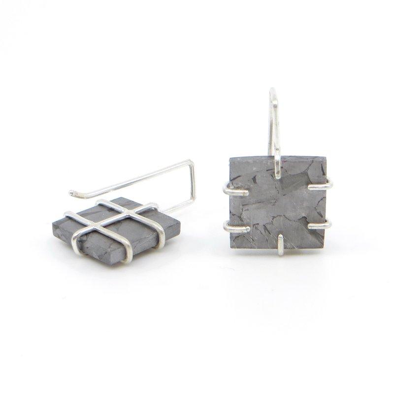 Wendy Jo New, Henbury Iron Meteorite Tile Earrings, at Waltham Open Studios 2021