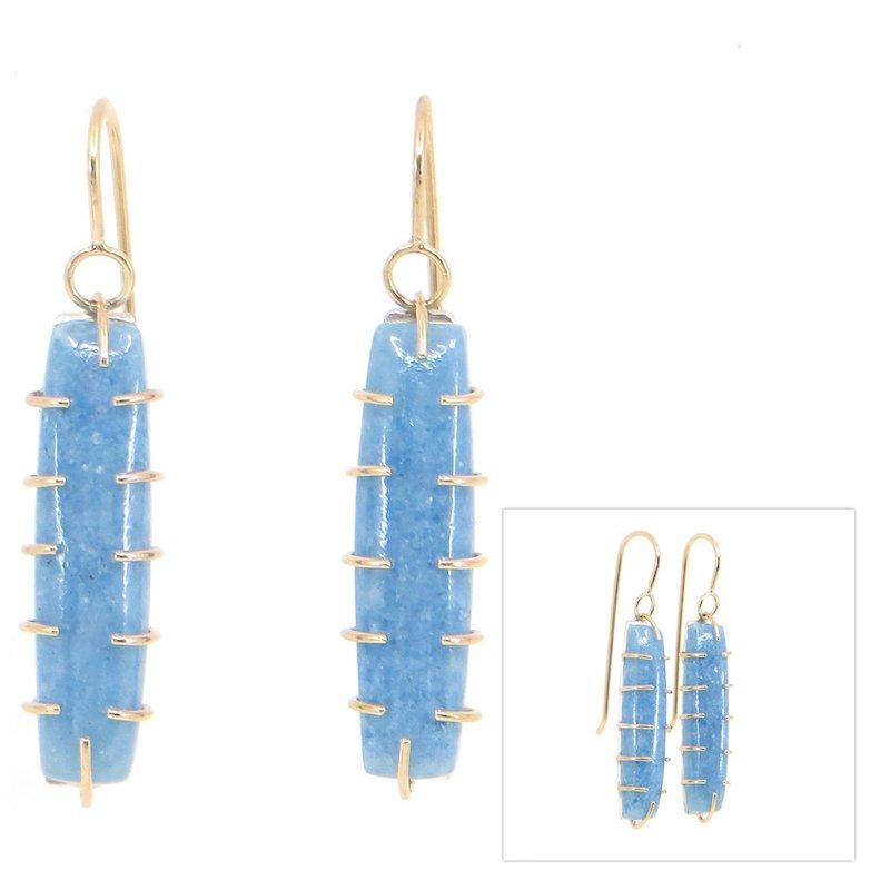 Wendy Jo New, Multi-Gold Prong Russian Blue Diopside Earrings, at Waltham Open Studios 2021