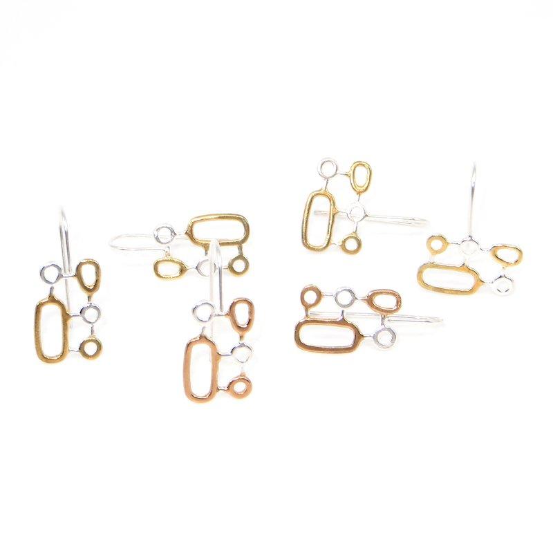 Wendy Jo New, Organic Geometrics Earrings of Precious Metals, at Waltham Open Studios 2021