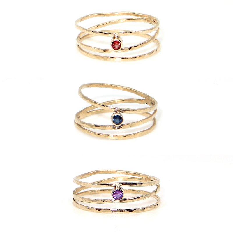 Gold Twinkle Rings with Gemstones Trio