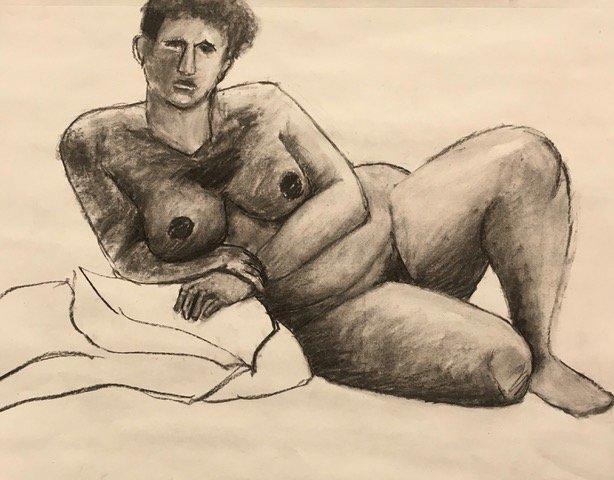 Jan Corash, Woman reclining with pillows Waltham open studios 2021