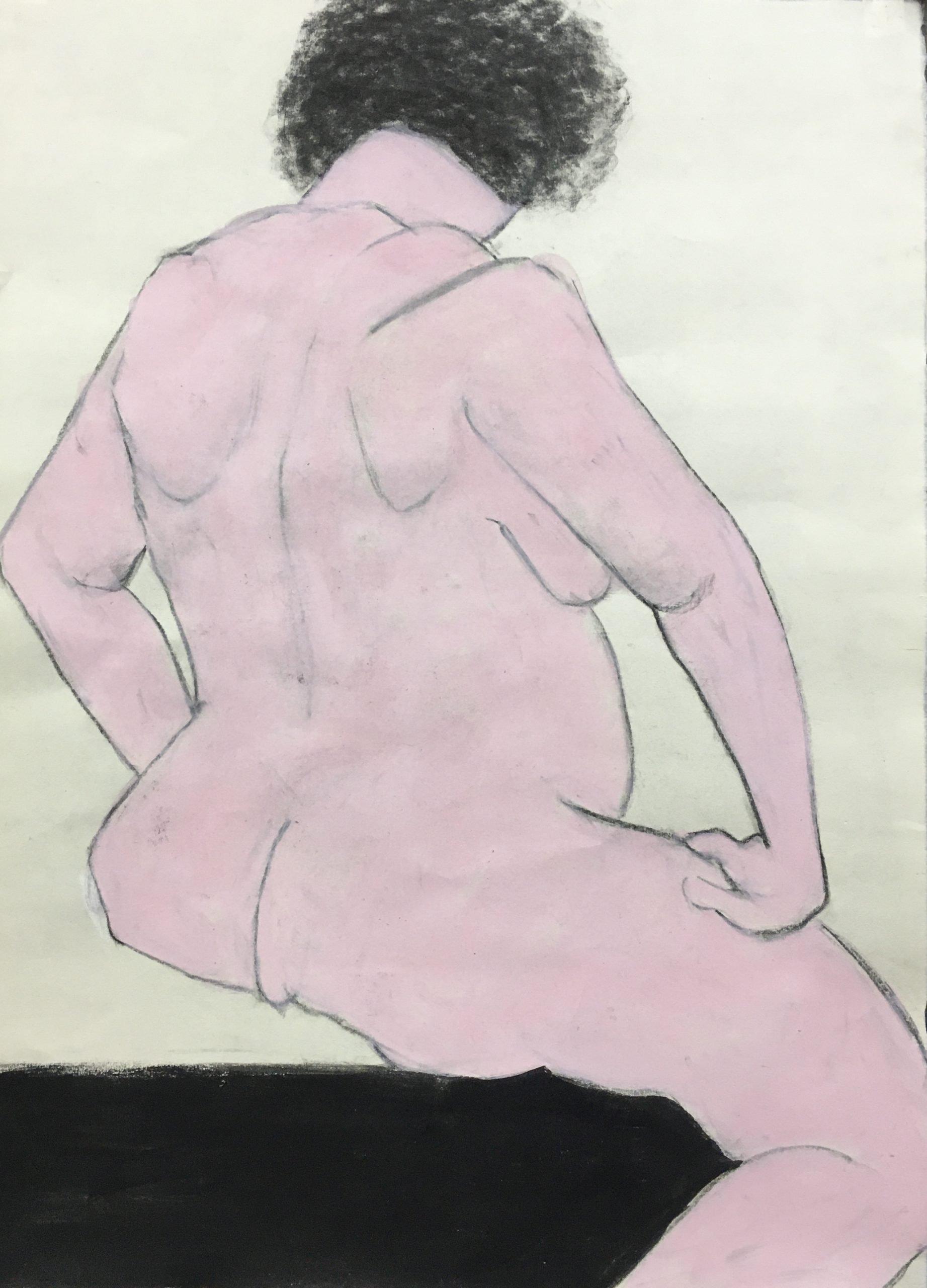 Jan Corash, Sitting in pink & black, Waltham open studios 2021