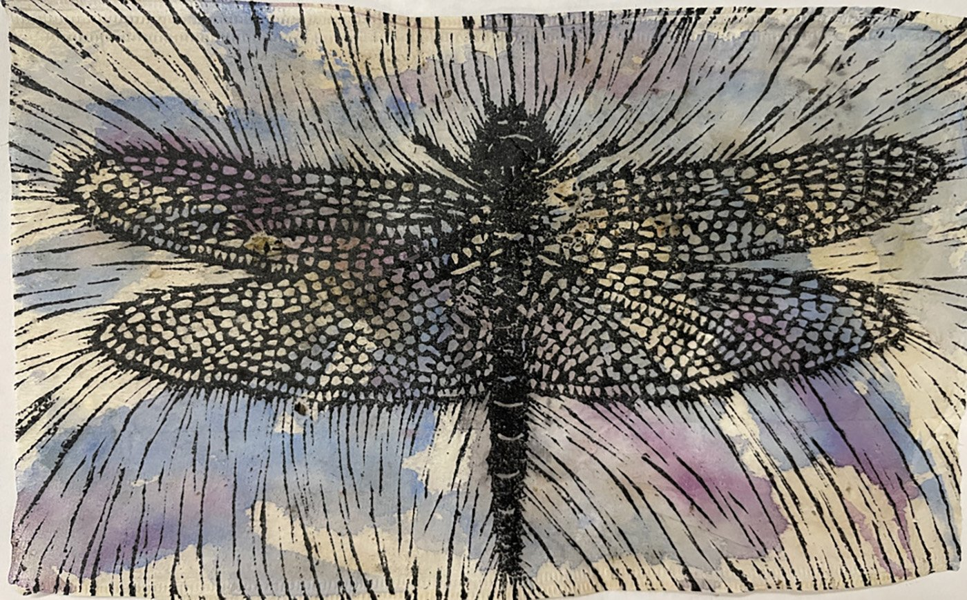 Black and white and purple linoleum cut print of dragonfly