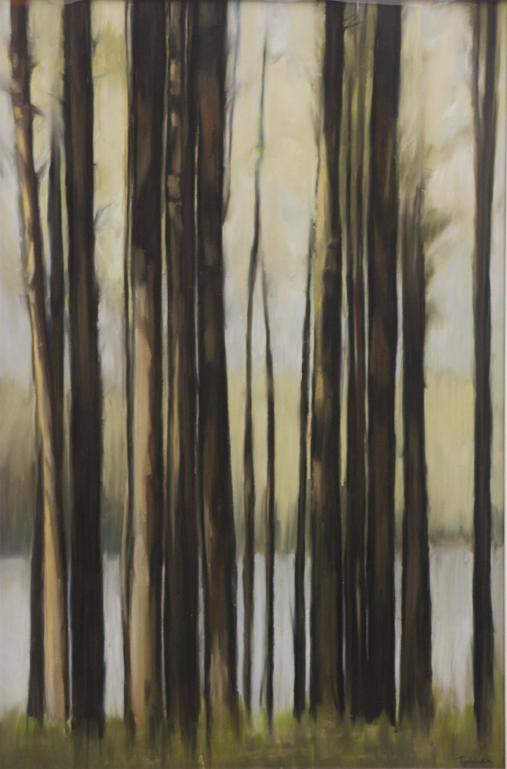 Pastel painting of trees in front of lake