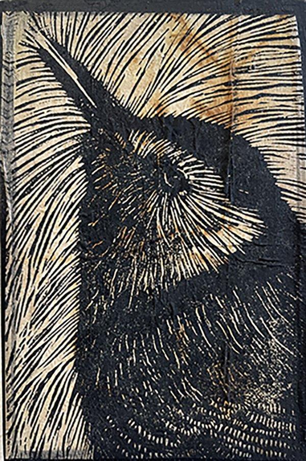 Black and white linoleum cut print of wren