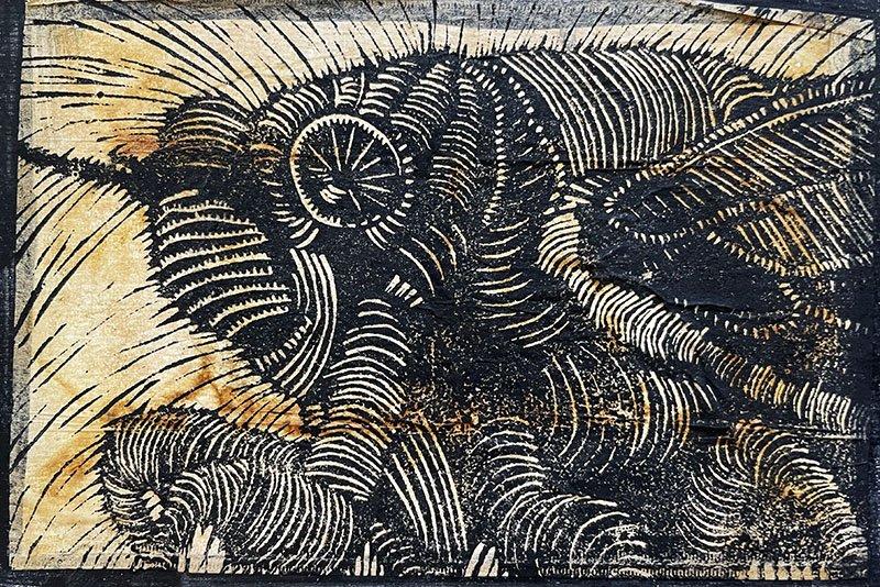 Black and white Linoleum cut print of cicada head and legs