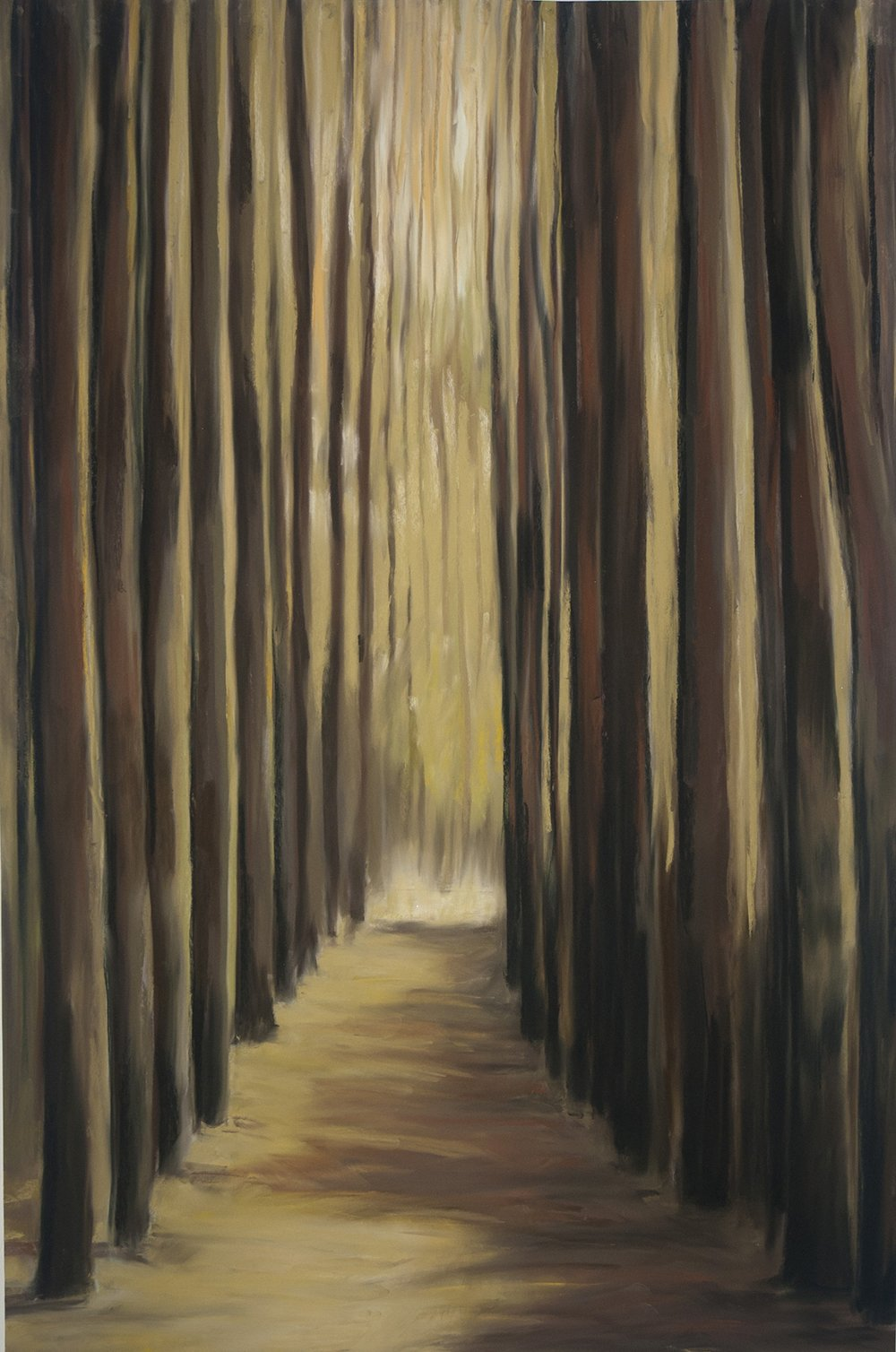 Pastel Painting od path in pine woods